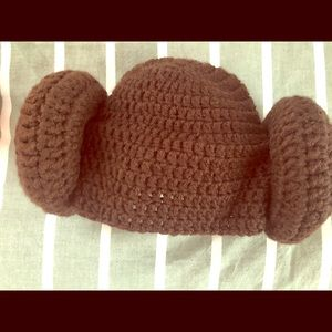 Crocheted Princess Leia hat